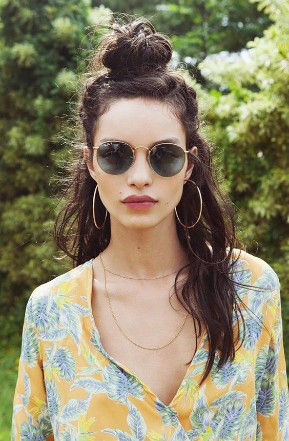 missguided festival hair inspo top knot
