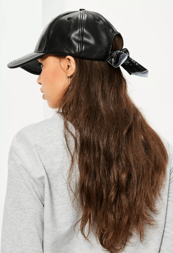 leather bow cap