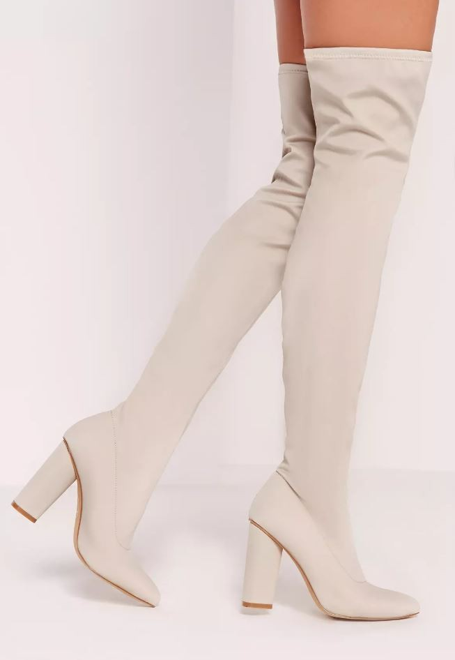 cream over the knee boots