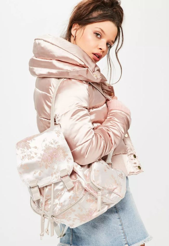 silver satin backpack