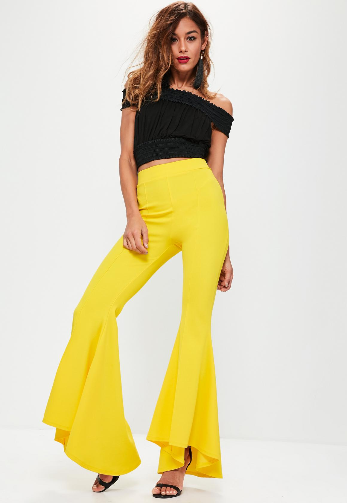 yellow frill cigarette trousers