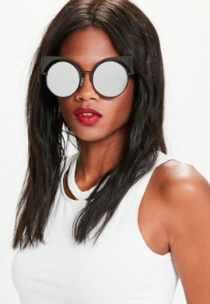 Black Mirror Metal Cat Eye Sunglasses