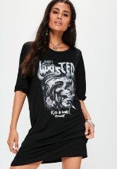 Black Wasted Graphic T-Shirt Dress