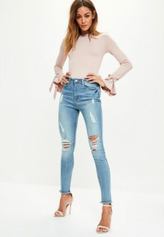 Blue Sinner Ripped High Waisted Skinny Jeans