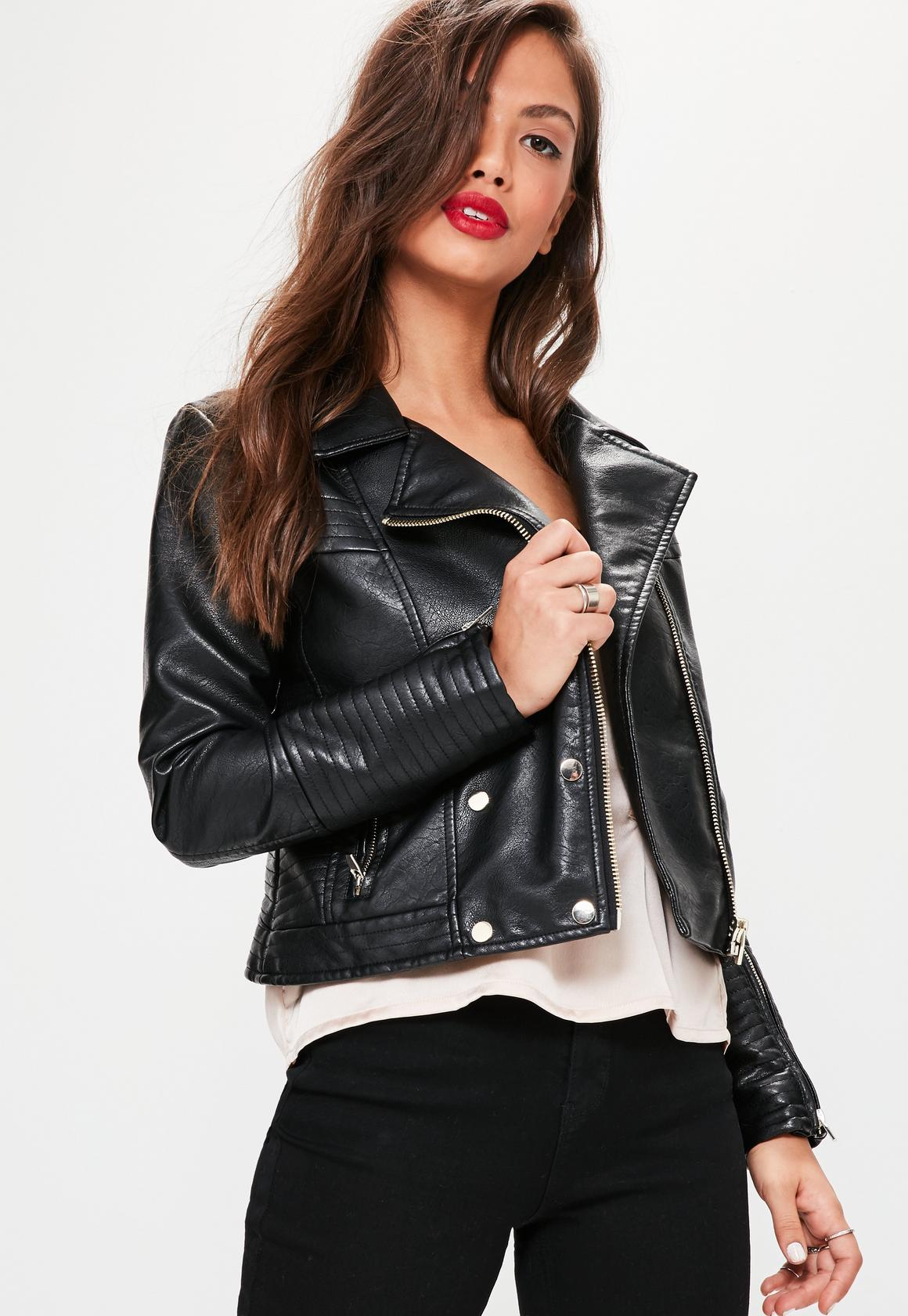 black faux leather military jacket