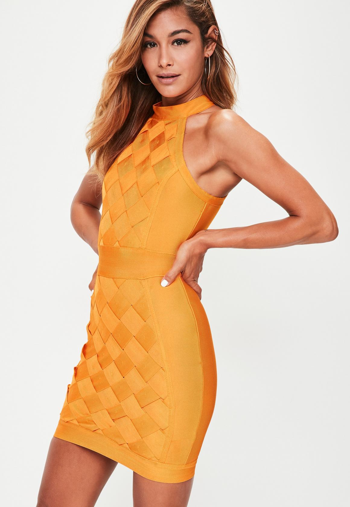 orange sleeveless weave dress missguided
