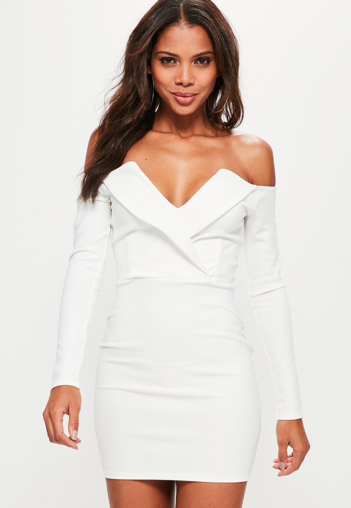 bardot foldover wrap dress missguided
