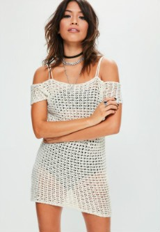 white crochet knitted supported bardot dress