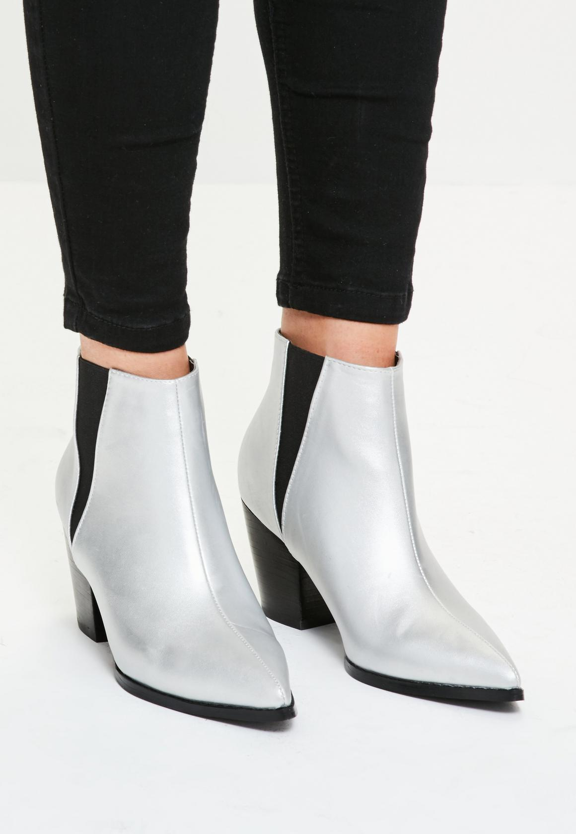 Silver western pointed toe ankle boots