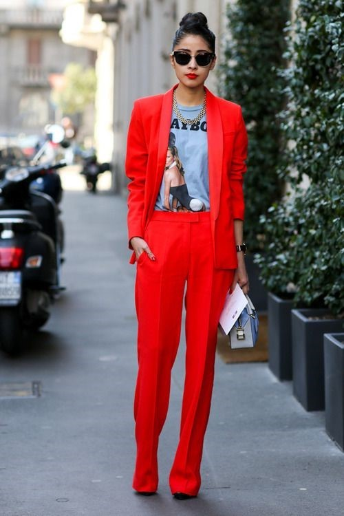 red tailoring street style