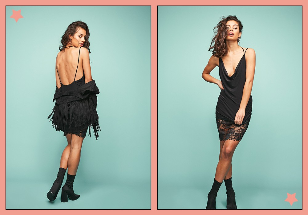 black fringe dress missguided