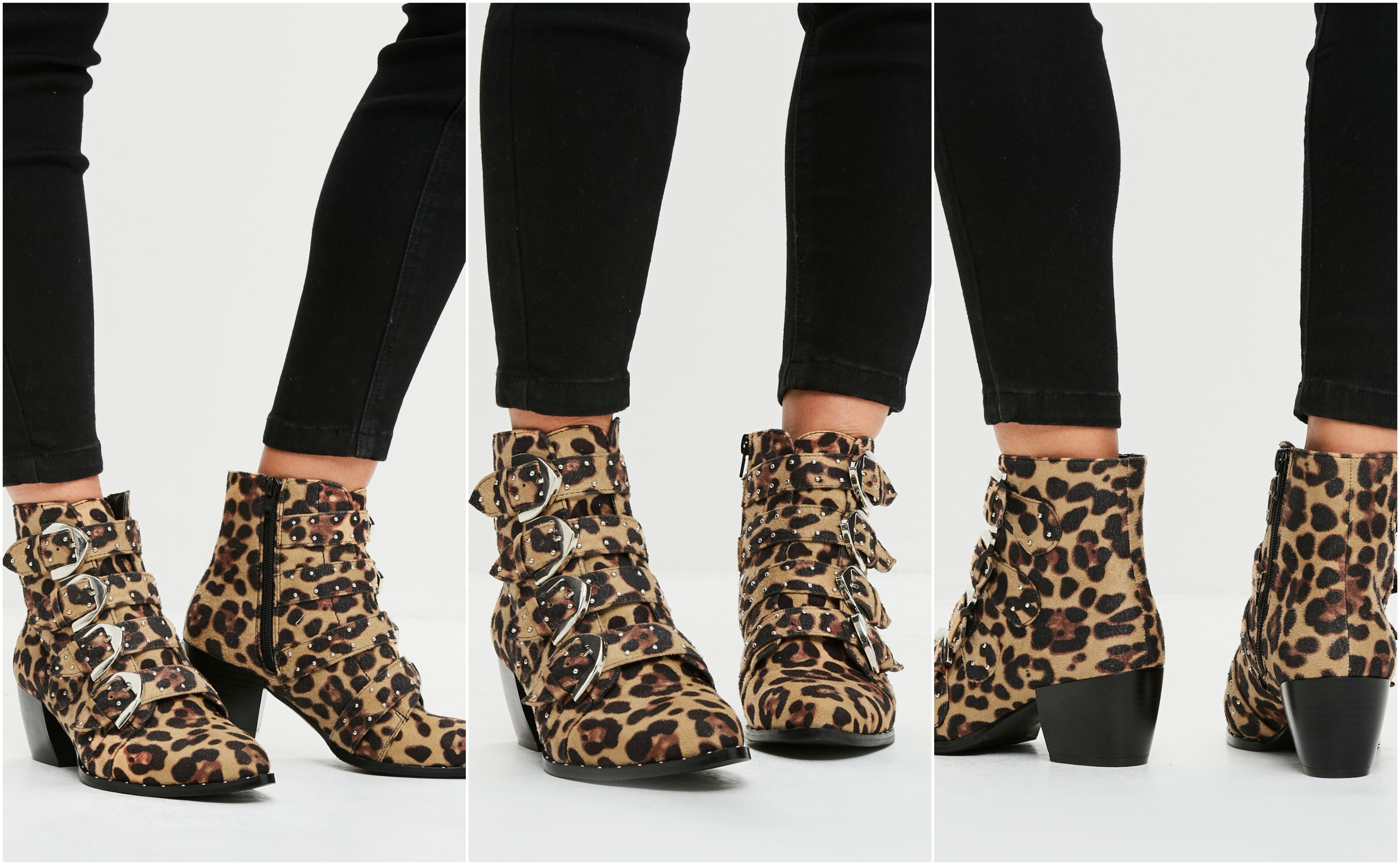 Missguided Outlet Leopard Print Ankle Boots