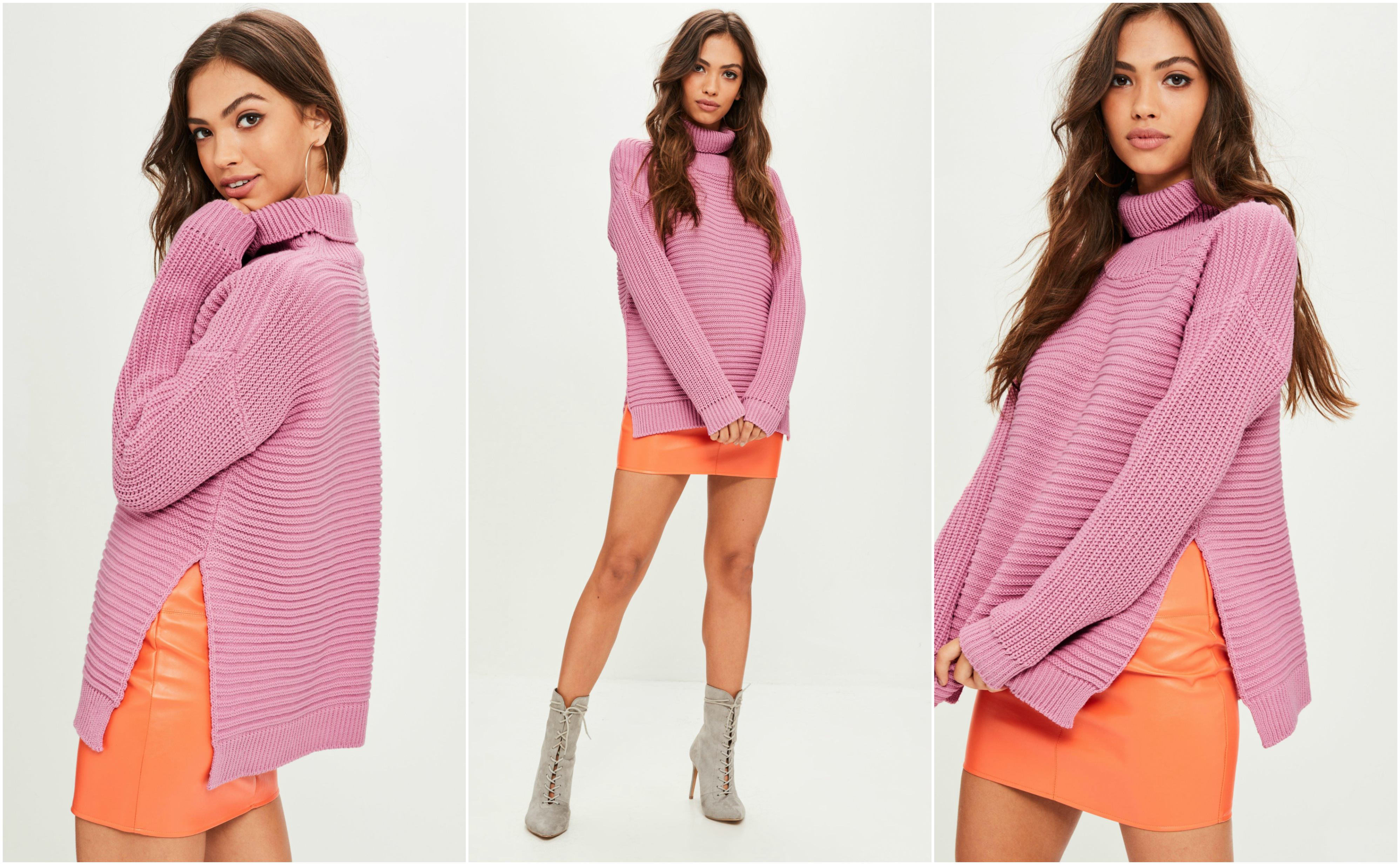 Missguided Pink Roll Neck Jumper