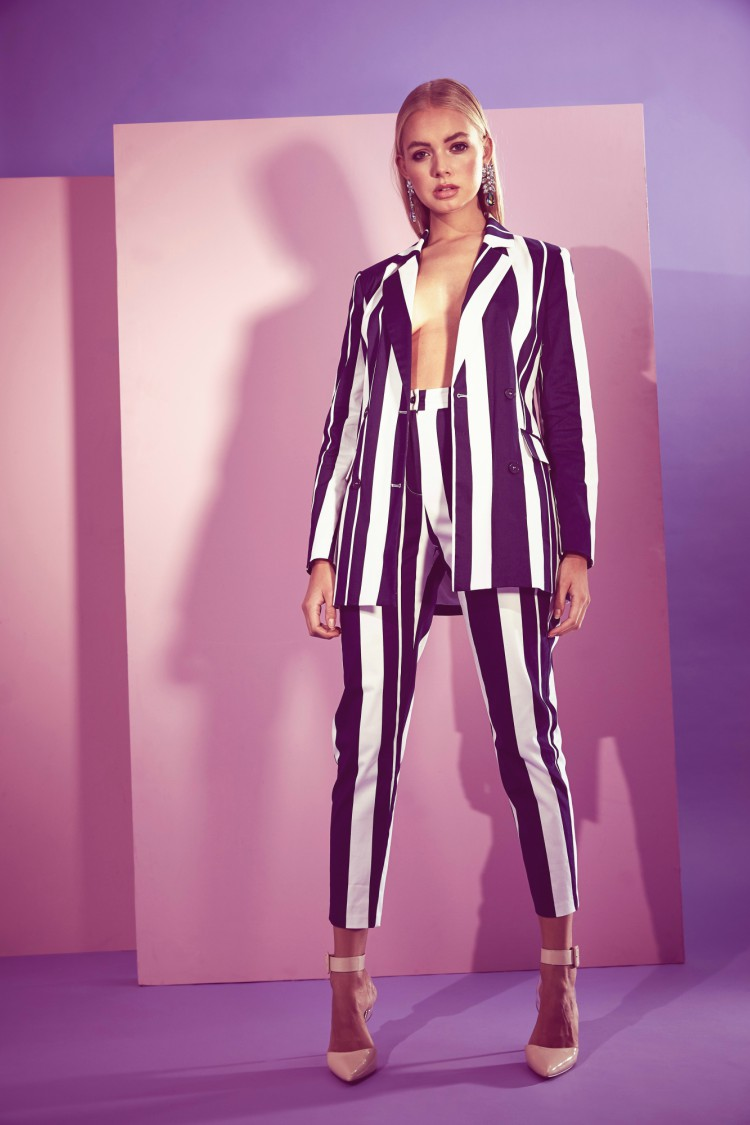 Missguided striped blazer and trousers races