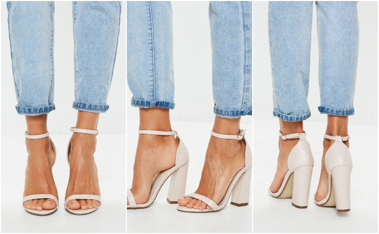 missguided nude flared block barely there heels