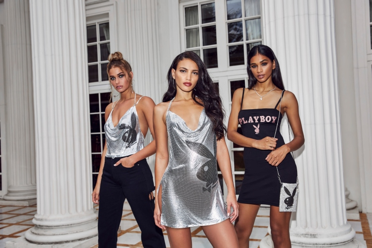 playboy x missguided silver chain dress crop top and dress