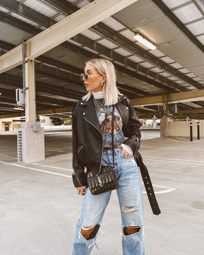 Mom jeans with biker jacket and t shirt