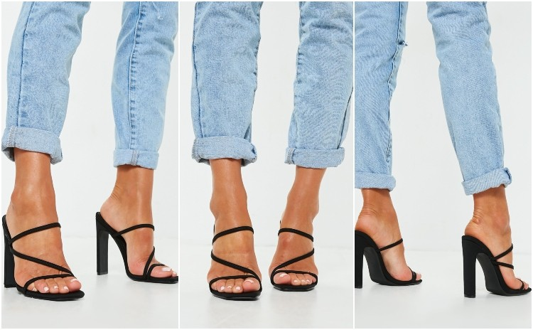 missguided black multi strap mules