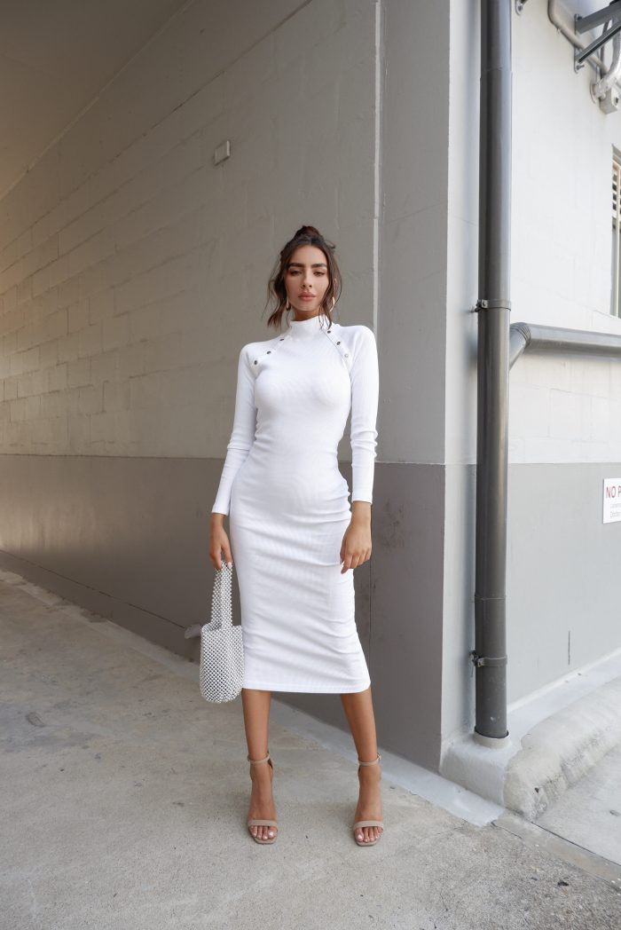 white jumper dress