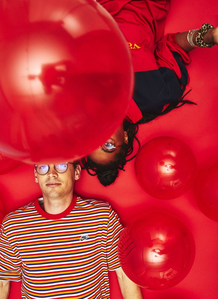Josh and Emma with red balloons