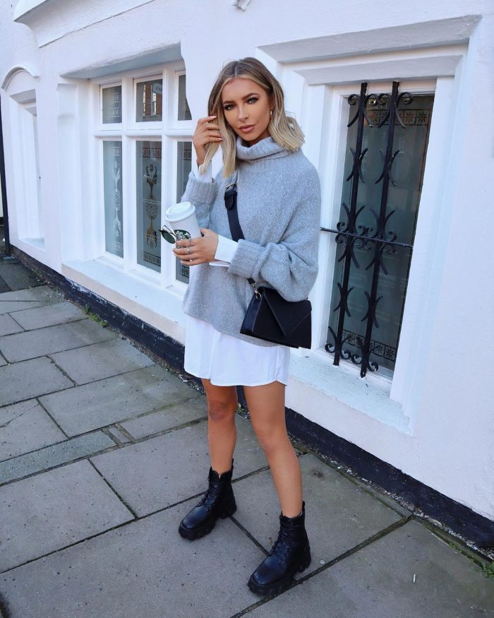 Grey jumper and shirt dress