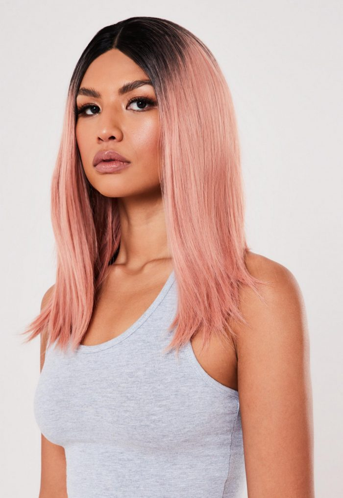 Pink and black roots wig