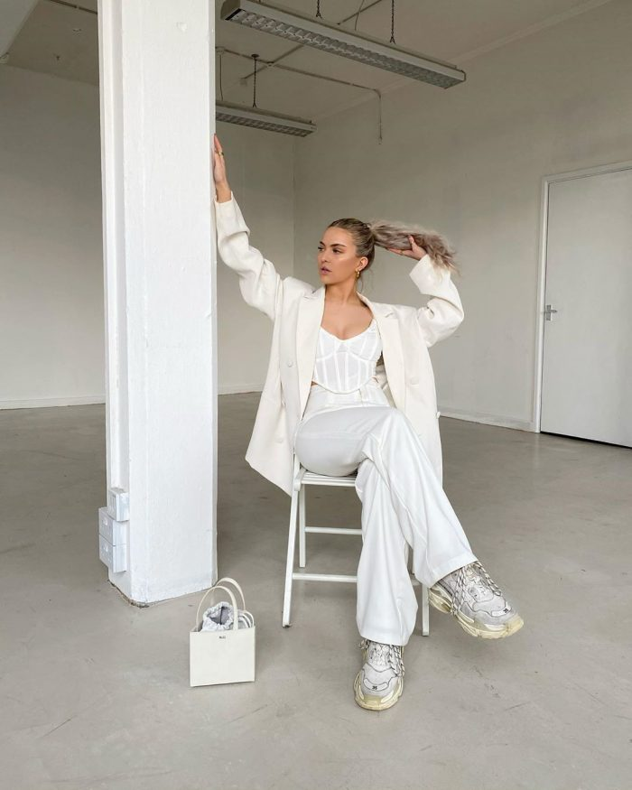 Bec Watkinson all white outfit