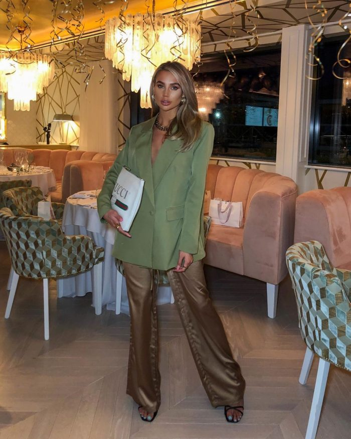 Babes of missguided green jacket and trousers