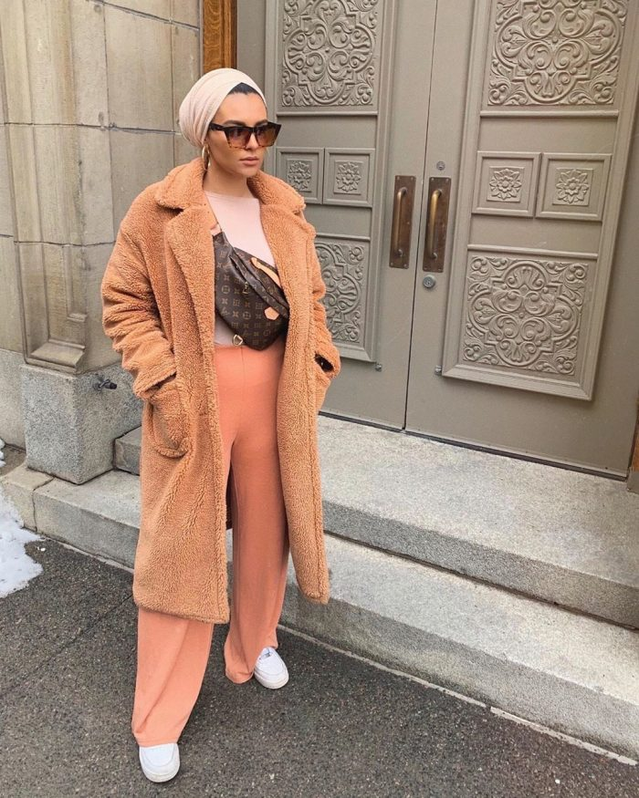 Borg oversized teddy coat and peach trousers