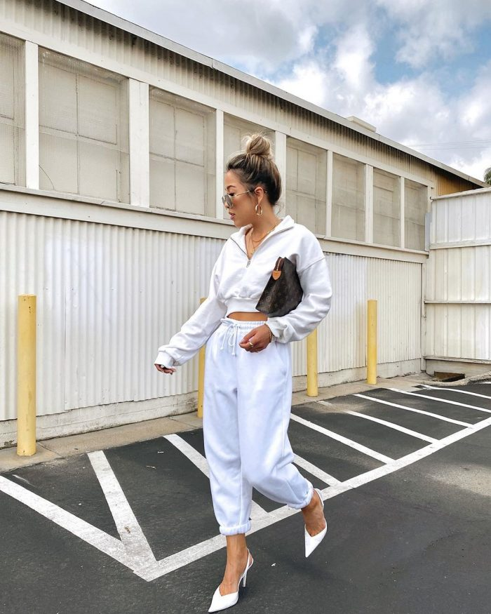 Babes of Missguided white jogger set