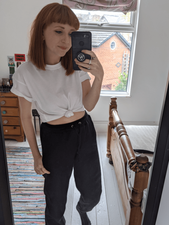 Working from home t shirt and black joggers