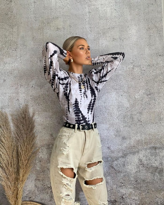 Black and white tie dye top