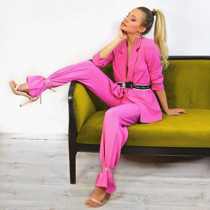 Babes of Missguided pink blazer co ord