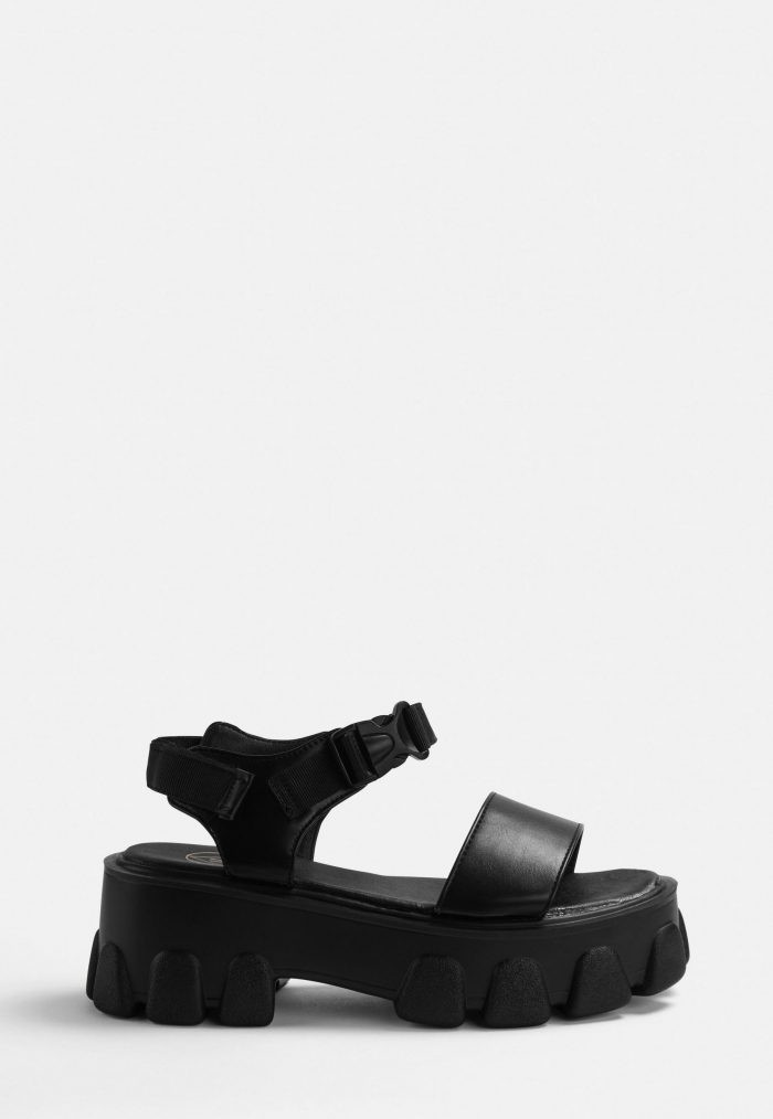 Cleated black strappy sandals