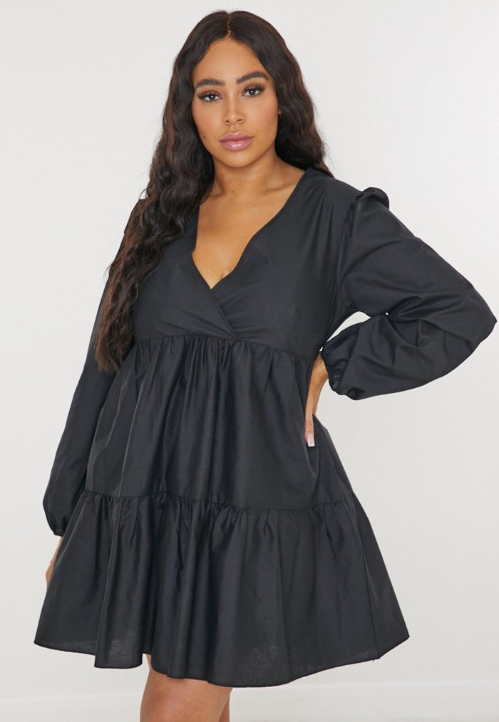 Plus size v neck smock dress