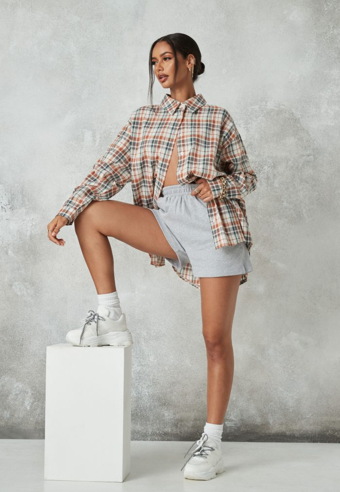 Beige checked pattern with shorts