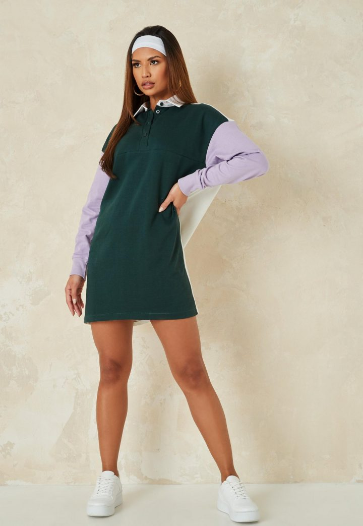 Green and purple rugby shirt dress