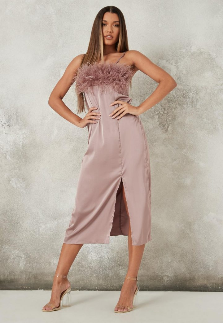 Mauve Feather Maxi Dress Missguided Christmas Outfits