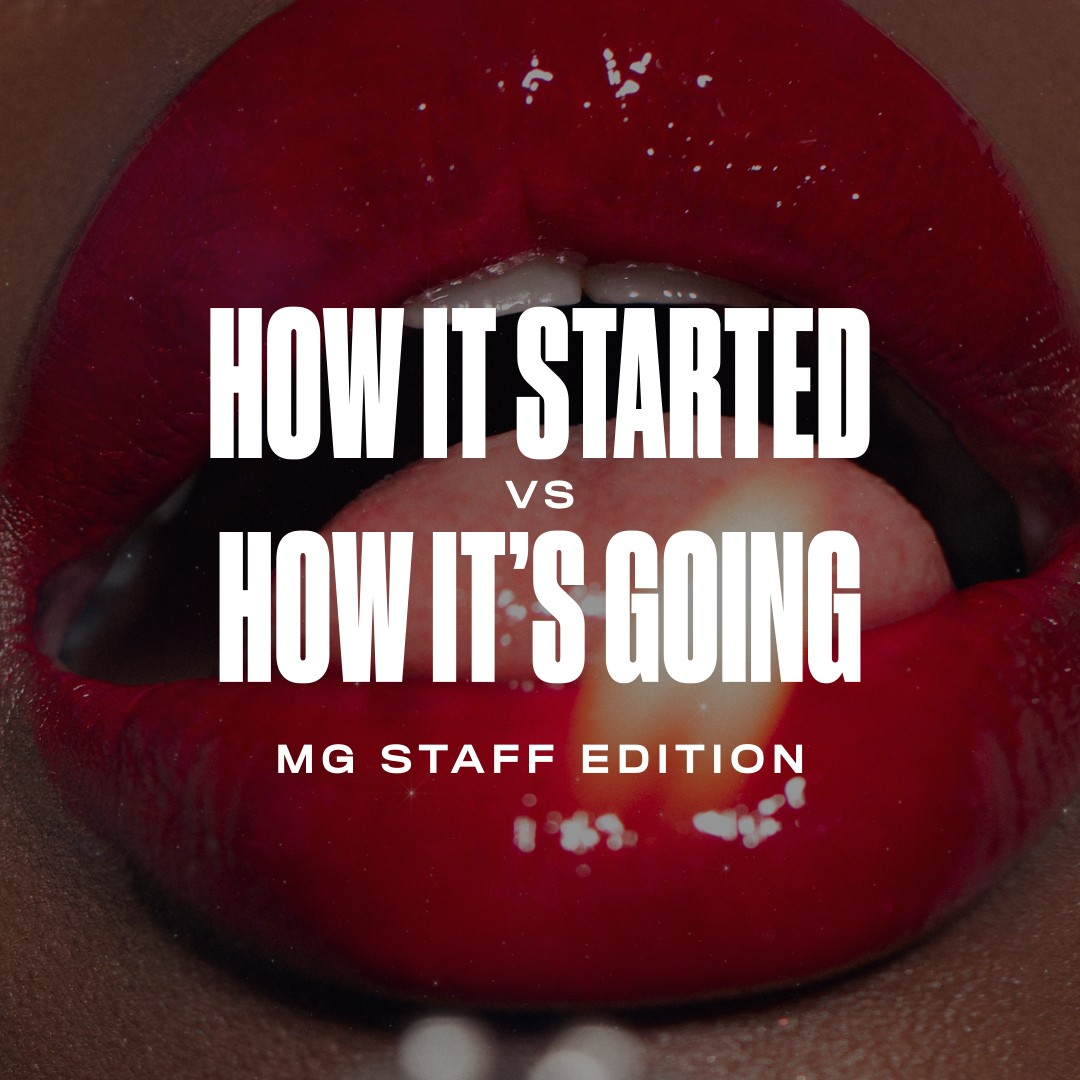 How it started vs how its going on red lips graphic