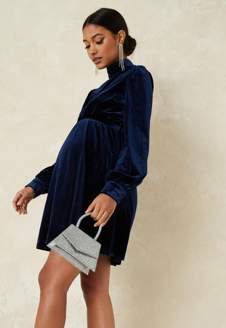 Maternity blue dress velvet
