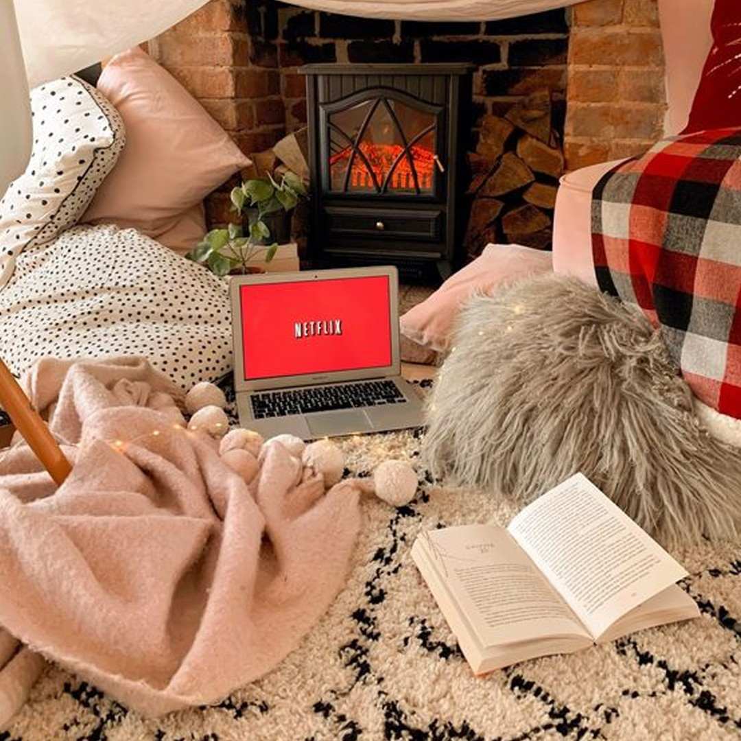 Netflix And Chill Blankets Fireplace