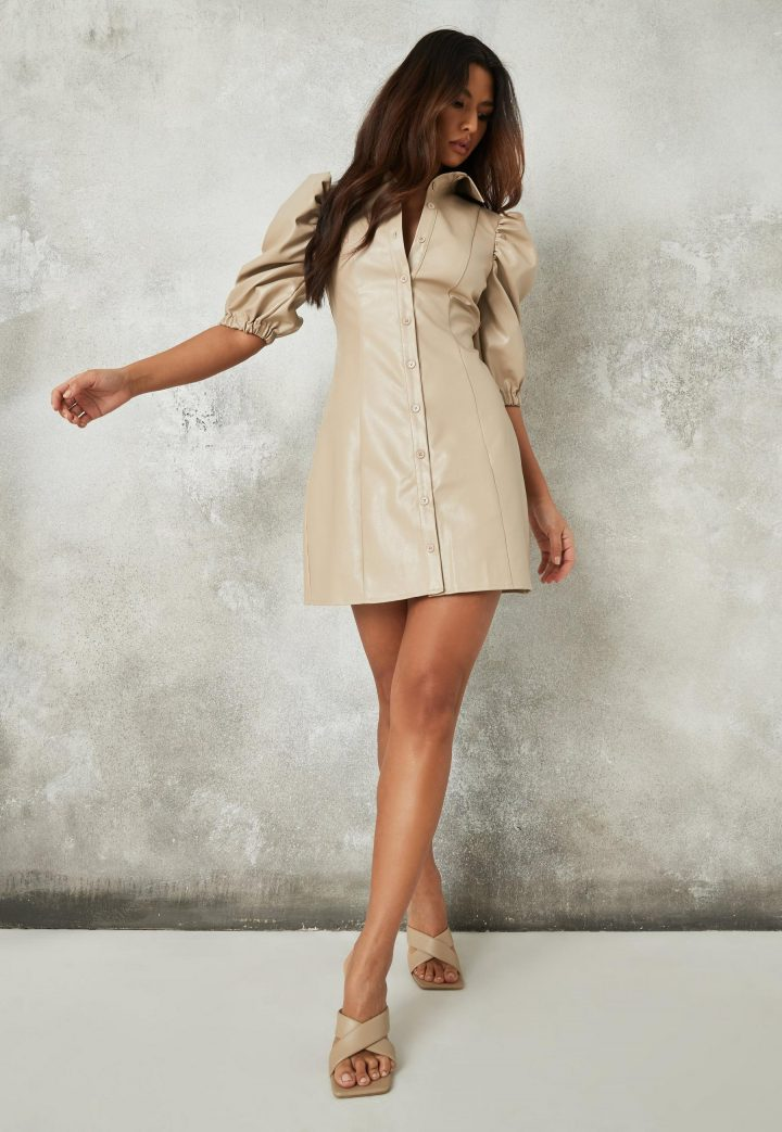 faux leather puff sleeve shirt dress