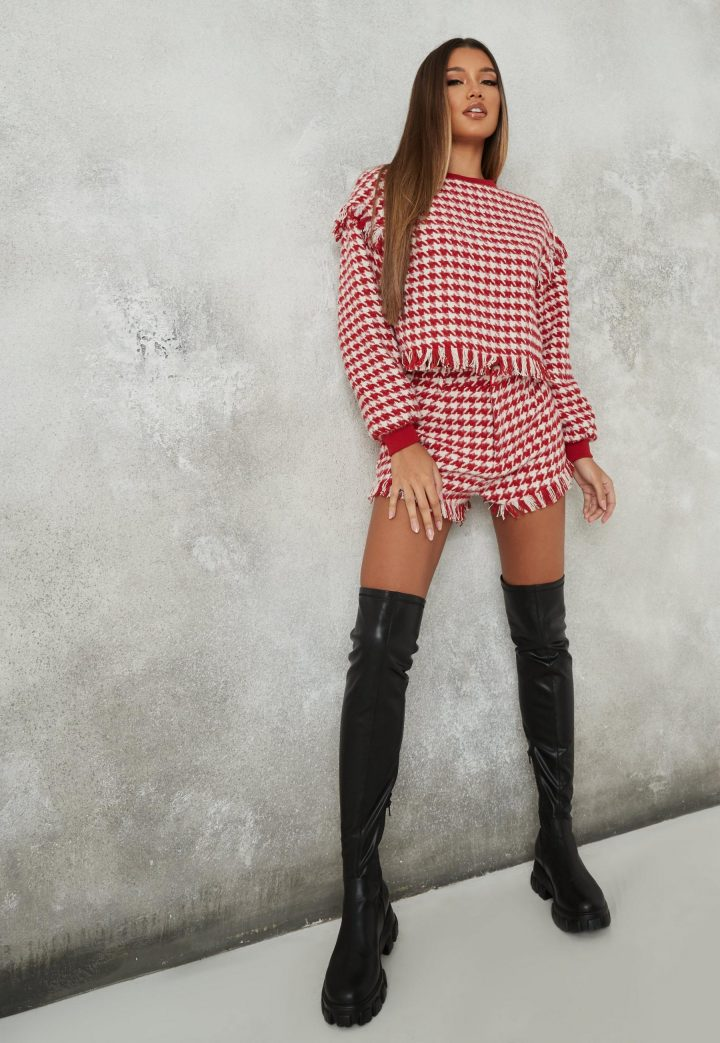 girl wearing red houndstooth co ord outfit