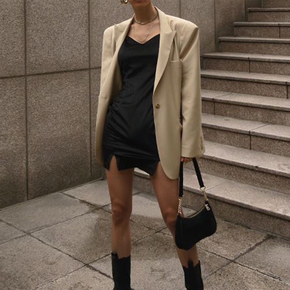 little black dress for new years eve winter Missguided camel blazer black boots mini bag