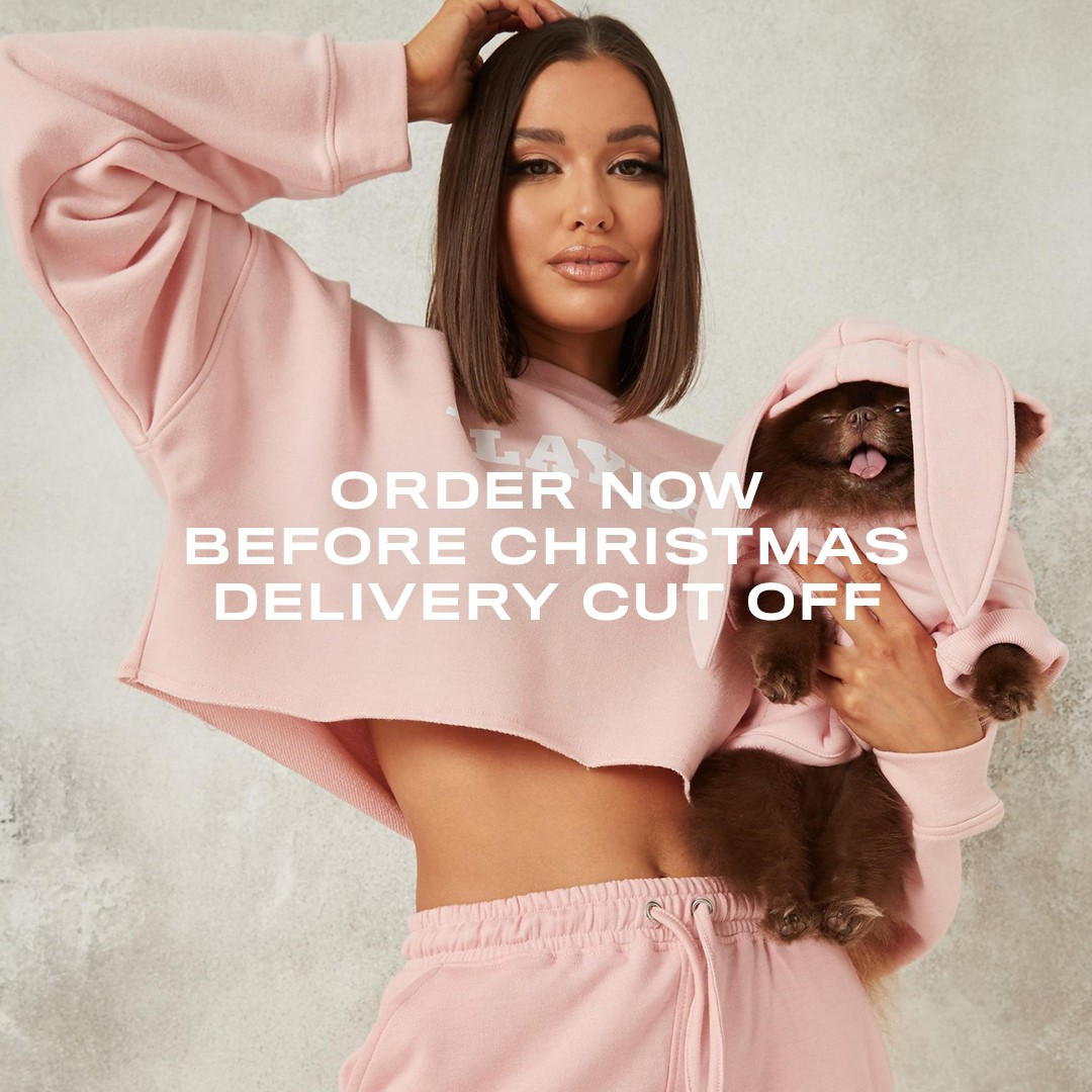 Playboy x Missguided dog jumpers Christmas cut off date Missguided