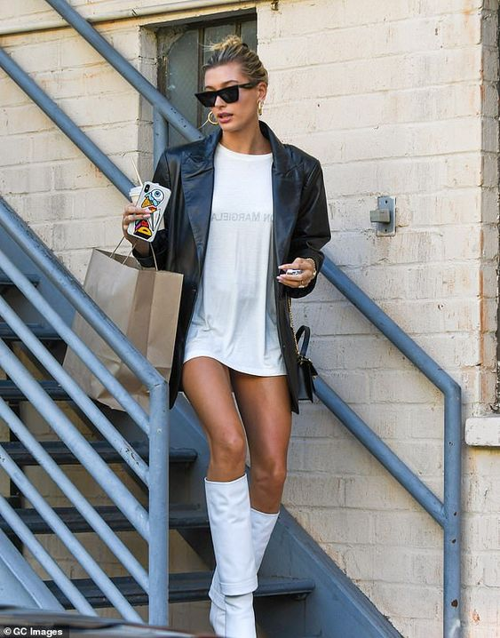 hailey beiber white knee high boots missguided 2021 trend predictions