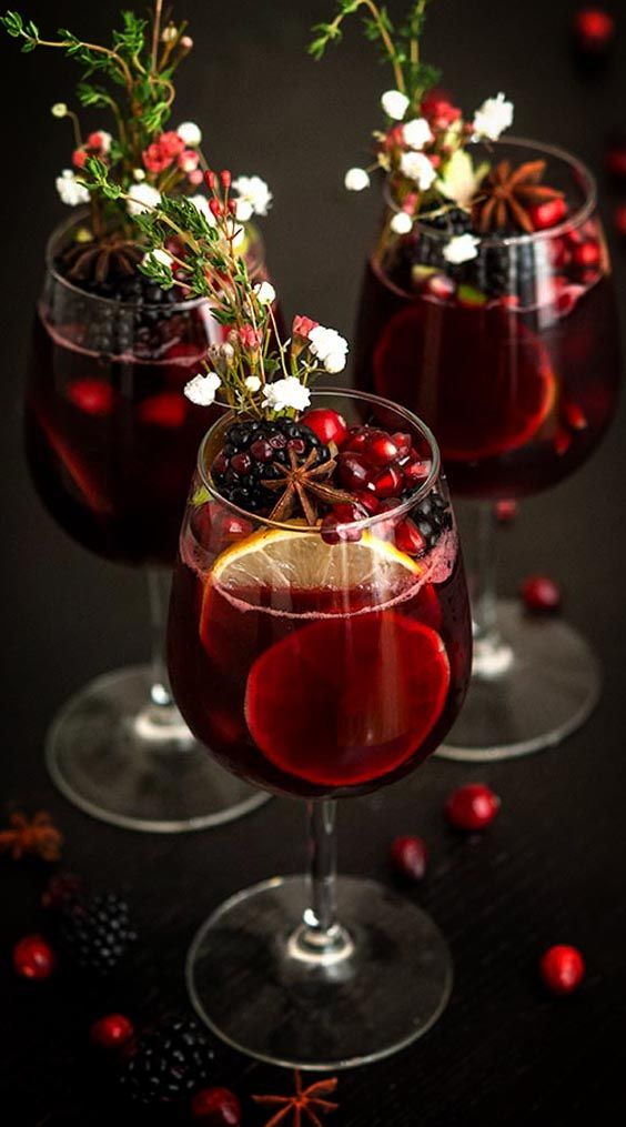 mulled wine cocktail with flowers Christmas cocktails Missguided