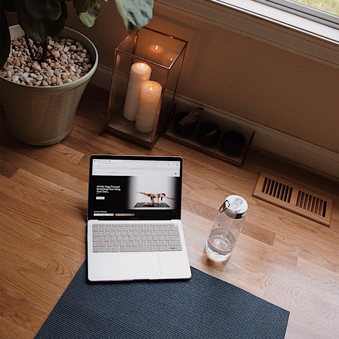 home workout gym matt laptop water candles plant missguided