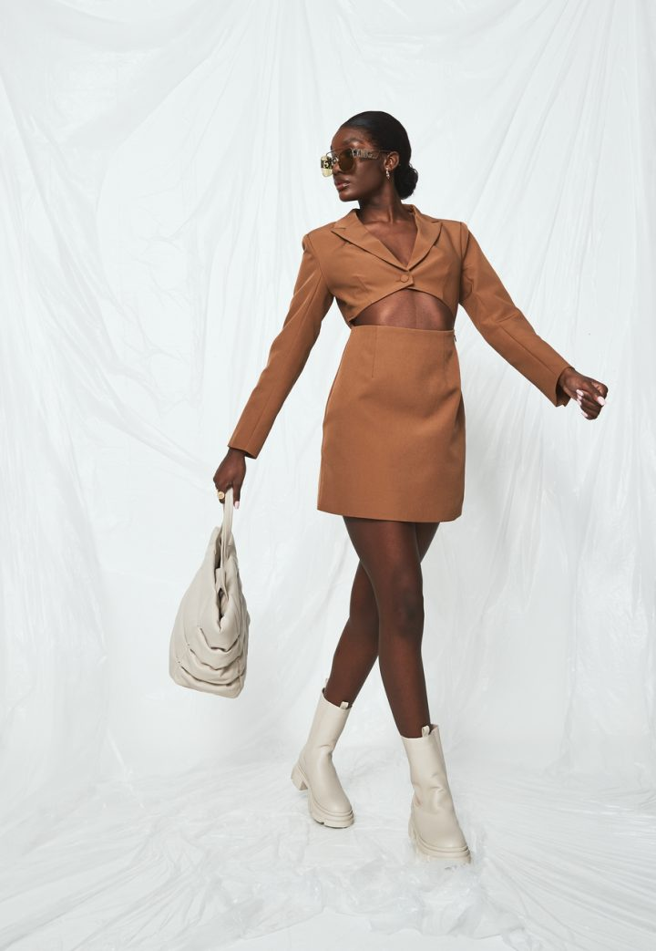 brown nude skirt and matching cropped shirt nude chunky boots nude bag missguided new season