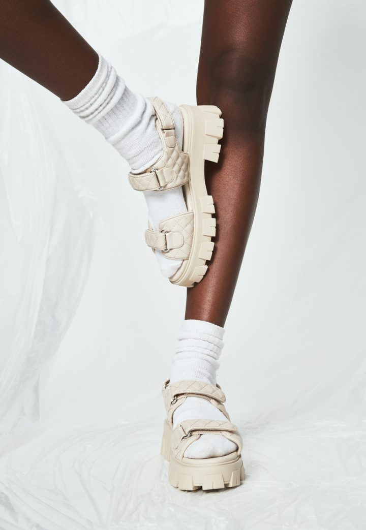 nude chunky sandals with silver buckles white socks